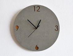 http://www.phomz.com/category/Wall-Clock/ Concrete and Wood Circle Wall Clock - Modern Wall Clock