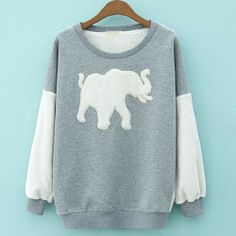 Price:$37.99 Color: Gray/Black Material: Coral Fleece/ Cotton Blends Leisure Sweet Elephant Patch Contrast Color Sweatshirt