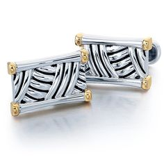 J.Goodman Sterling Silver/18k Yellow Gold Cufflinks