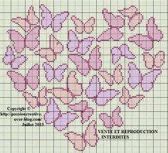 Diy Bead Embroidery, Cross Stitch Embroidery, Embroidery Patterns, Butterfly Cross Stitch, Cross Stitch Heart, Wedding Cross Stitch Patterns, Cross Stitch Designs, Pixel Crochet, Stitch Book