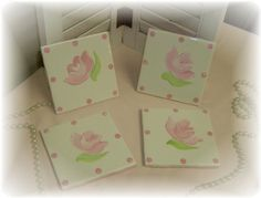 Hand Painted Shabby Chic Rose Ceramic Tile by LisasShabbyCottage (Home & Living, Kitchen & Dining, Drink & Barware, Drinkware, Coasters, shabby chic, gift for mom, mothers day gift, ceramic tile coaster, cottage chic decor, shabby chic gift, custom coasters, rose decor, coaster set, coasters, rose coasters, romantic decor, shabby chic gifts)