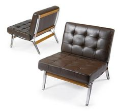 Ico Parisi; #856 Steel, Rosewood and Leatherette Lounge Chairs, c1955.