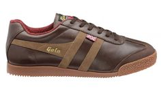 Gola Made in England 1905 Men's Gola + Mallalieus Harrier Trainer Brown/Taupe. Harrier 68 is based on the original Harrier men's training shoe established in 1968 and features a luxurious leather upper, sumptuous Mallalieus fabric lining and tonal sole unit.  •    Made in England collection •    Based on original 1968 design •    Leather upper •    Premium fabric lining