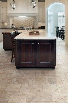 You Can Get The Luxurious Look Of Travertine For The Cost Of Ceramic Tile Using Kitchen Tile Flooringceramic Tile