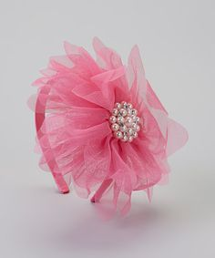 Love this Hot Pink Rhinestone Pearl Flower Headband on #zulily! #zulilyfinds
