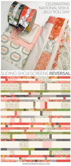#ProjectJellyRoll and National Sew a Jelly Roll Day inspired this reversal of Sliding Shoji Screens quilt in Amy Ellis  Serenity fabric and Robin Pickens Blushing Peonies fabric from Moda. quick easy quilting, weekend sewing