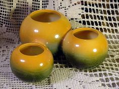 Hull Pottery Vase 3 Joined Spheres # 107 Orange to Green Color about 7 in 22.99