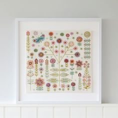 Garden sampler/cushion embroidery kit. New kit from Nancy Nicholson