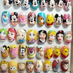 Disney Acrylic Nails, 3d Acrylic Nails, Disney Nails, Cartoon Nail Designs, Nail Art Designs Videos, Funky Nail Art, Cool Nail Art, Disney Inspired Nails, Disney Princess Nails