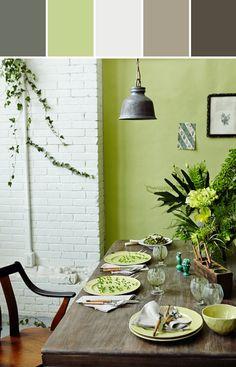 El verde es un color sereno. La combinación con colores crema y tierra le aporta la calidez necesaria para una comedor diario.