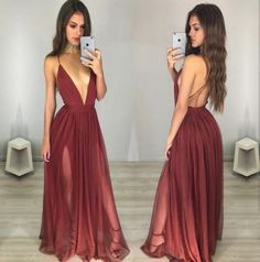 Simple Prom Dress,Deep V neck Open Back Prom Dress,Burgundy Long Evening Gowns,2017 backless prom dress,formal dress