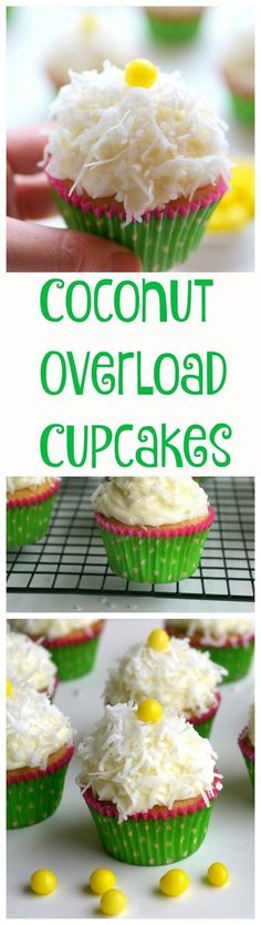 Coconut Overload Cupcakes with Coconut Cream Cheese Frosting from NoblePig.com. The bursting coconut flavor comes from coconut milk, shredded coconut, coconut rum and coconut extract. Perfect for any celebration.