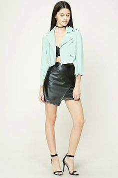A faux leather moto jacket featuring an asymmetrical zipper front, notched collar, front zippered pockets, snap-buttoned epaulets, a snap-buttoned mock flap pocket, belted hem, long sleeves, and a cropped silhouette.