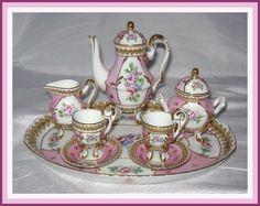pink children's miniature tea set Sevres
