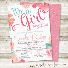 Its a girl floral garden baby shower invitation mom and kids baby shower invitation girl its a girl watercolor flowers baby shower personalized printable diy invitation in pink coral and aqua solutioingenieria Gallery