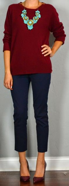 Outfit Posts: Guest outfit post - sister week: maroon sweater, navy crop pant, turquoise necklace, maroon heels