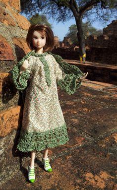 Momoko doll in dress with crochet trim
