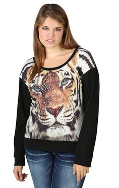 Plus Size Long Sleeve Sweater with Tiger Face Front and Stone Accents