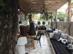 Image result for kim soo bali Kim Soo Bali, Interior Architecture, Interior Design, Bali Fashion, Thai Restaurant, Bungalow, Patio, Black And White, Living Room