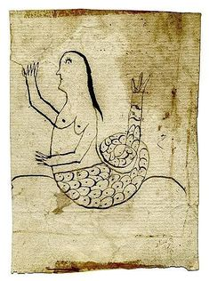 Fraktur drawing, A mermaid, 19th century, Ink on laid paper, Property of a Haverford, Pennsylvania Estate.