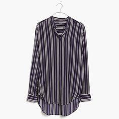 Madewell Silk Tunic Shirt In Stripe