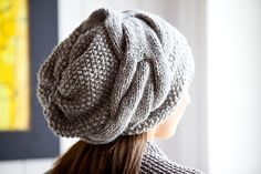 Knitting: A slouchy beanie hat in moss stitch using Rowan 'Purelife' undyed wool (pattern is NOT free) Knitting Patterns, Knitted Hats, Crochet Hats, Slouch Beanie, Slouchy Hat, Moss Stitch, Couture, Bead Crochet, Hat Patterns