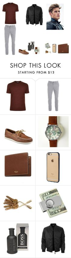 """Untitled #51"" by martaalmeida-i on Polyvore featuring Giorgio Armani, Sperry, Mulberry, Incase, American Coin Treasures, HUGO, LE3NO, men's fashion and menswear"