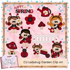KnC Scrapz: CU Ladybug Garden Clip Art