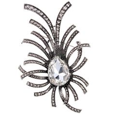 Amybria Nice Silver Plated Full Crystal Inlay White Rhinestone Brooch Pin Party Lady ** Learn more by visiting the image link.