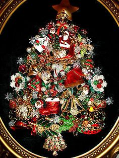 """Whimsical Vintage Jewelry Tree Framed Art Titled """"Christmas Night """""""