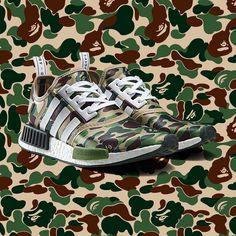 BAPE x adidas NMD Adidas Nmd R1, Best Sneakers, Adidas Sneakers, Adidas Camouflage, Fashion Advertising, International Fashion, Hiking Shoes, Runway Models
