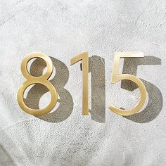 "Aurele 6"" Brushed Brass House Numbers 