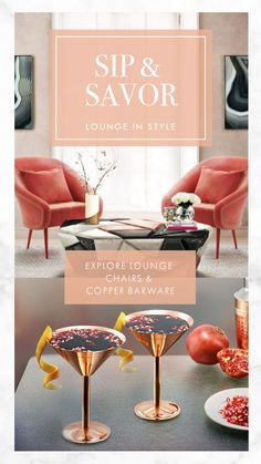 Grab a copper martini glass, pour some gin, take a seat on the gorgeous Andesine Armchair and enjoy the view. Red Interiors, Take A Seat, Drinkware, Martini, Gin, Armchair, Copper, Lounge, Place Card Holders