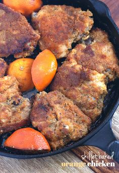 Skillet Baked Orange Chicken.. it's baked, but tastes like it's been fried! Full of favor, juicy and bursting with bright orange!!