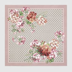 Gucci Women - Gucci GG Mauve and Light Brown Blooms print silk scarf - $440.00