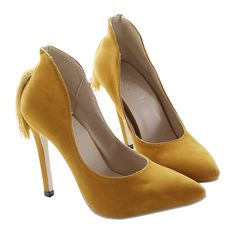 Back Heel Tassel Pointed Thin High Heel Low-cut Wedding Shoes yellow 35
