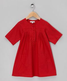Take a look at this Red Smock Dress - Toddler & Girls by gravel+grass on #zulily today!