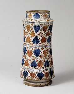 Pharmacy Jar Date: 1435–75 Geography: Made in probably Manises, Valencia, Spain Culture: Spanish Medium: Tin-glazed earthenware Dimensions: Overall: 11 11/16 x 5 5/8 in. (29.7 x 14.3 cm)