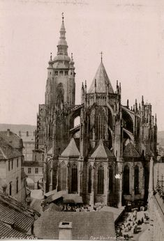 Prague, Old Pictures, Old Photos, Vintage Gothic, Gothic Architecture, Old Town, Vintage Prints, Cities, Buildings