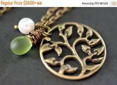 BACK to SCHOOL SALE Tree of Life Necklace. Tree Necklace. Leafy Brocade Necklace with Glass Teardrop and Pearl. Bronze Necklace. Handmade Ne by TheTeardropShop from The Teardrop Shop. Find it now at http://ift.tt/2c8wjKL!