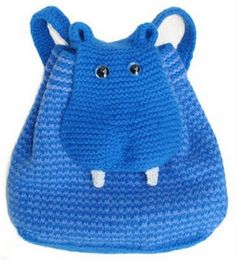 Hippo BackPack pattern - if only I had the patience to knit. Love Crochet, Crochet For Kids, Crochet Baby, Knit Crochet, Crochet Backpack, Backpack Pattern, Owl Backpack, Crochet Handbags, Crochet Purses