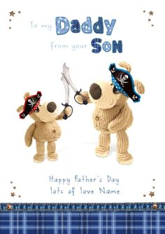 Boofle - Playing Pirates with Daddy Father's Day Personalised Greetings Card Idea