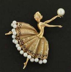 vintage gold ballerina pin