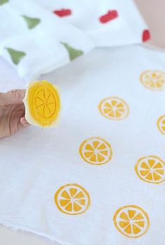 Pucker Up with 6 Citrus Crafts ⋆ Handmade Charlotte DIY Citrus Swaddle Blankets Diy And Crafts, Crafts For Kids, Arts And Crafts, Stencil, Sewing Projects, Craft Projects, Stamp Carving, Handmade Stamps, Fruit Party