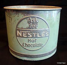 Nestles Hot Chocolate Tin.  Love the mint green.