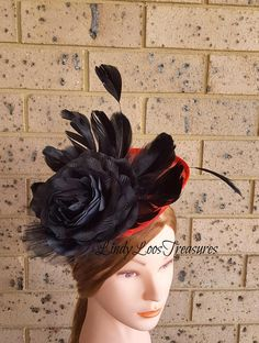 Black Feather Red Sinamay Fascinator Hat Red and Black