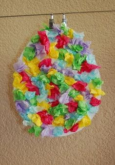 Tissue paper easter eggs – DIY in 2020 Easter Projects, Easter Art, Easter Crafts For Kids, Toddler Crafts, Preschool Crafts, Easter Eggs, Fun Crafts, Christmas Art For Kids, Christmas Art Projects
