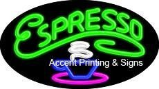 Espresso Flashing Handcrafted Real GlassTube Neon Sign