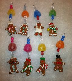 8 Mini Gingerbread Men Gumdrop Candy Icicle Christmas Tree Ornaments