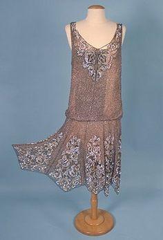 @1920's Silk Chiffon Sequined Flapper       Dress.